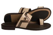 6b137447347 Giampieronicola 5396 Italian mens pearl brown leather push-in-toe sandals