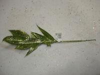 Christmas Picks Floral 8pc 12 Glittered Leaf Wholesale Lot Bulk Decorations 12