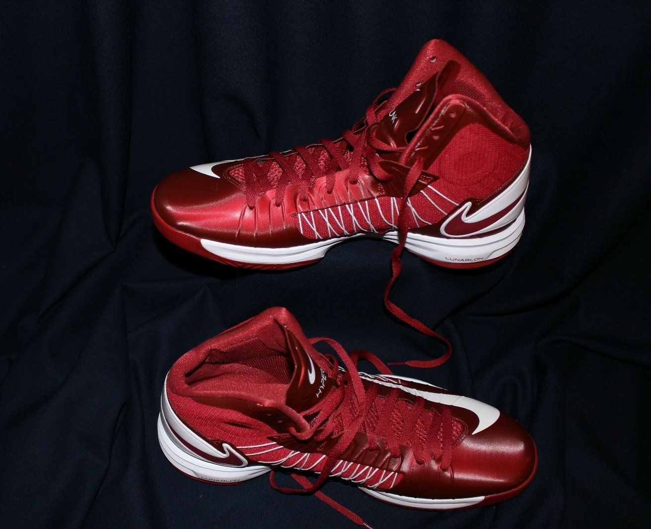 new style 59227 0c9dd NIKE HYPERDUNK LUNARLON  NWOB  Burgundy rosso and bianca Athletic scarpe  Dimensione 15 478f7f