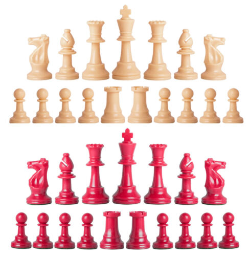 Set of 34 Natural /& Red 4 Queens Staunton Single Weight Chess Pieces