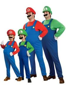 MARIO-BROS-Costume-SUPER-Fancy-Dress-Party-Men-Adult-Dress-Up-039-80-Game-Kids