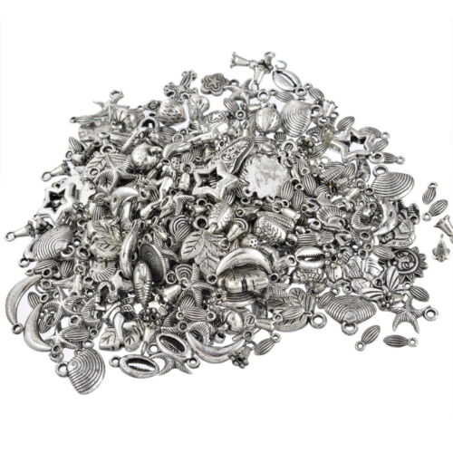 KUS 100g Mix Antik Silber Acrylperlen Beads Bastlerbedarf Bastelset Konvolut #1