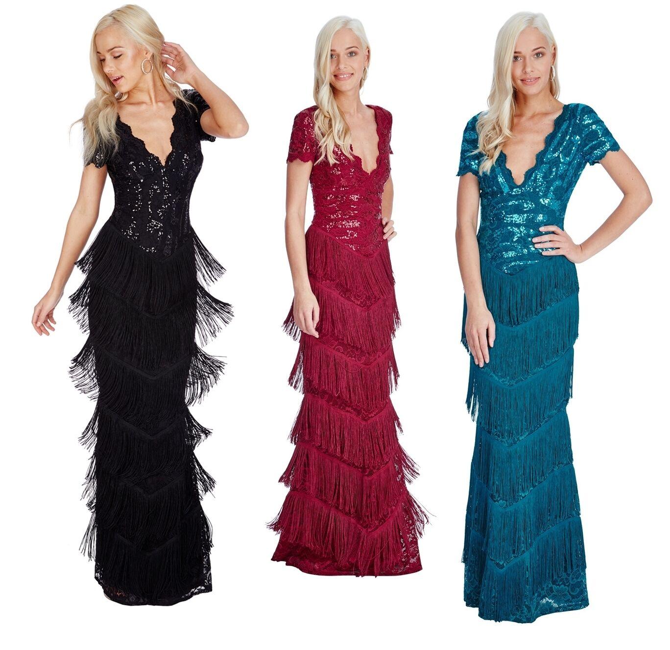 Goddiva Sequin Lace Flapper Fringe Lange Formal Maxi Evening Kleid Prom Ball