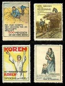 Netherlands-WWI-Propaganda-Poster-Stamps-Willy-Sluiter-Designs-4-Different