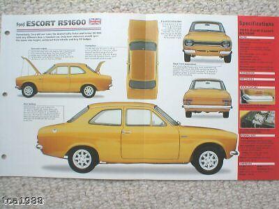 1971 Broschüre Frugal Ford Escort Rs1600/rs-1600 Spezial Folie