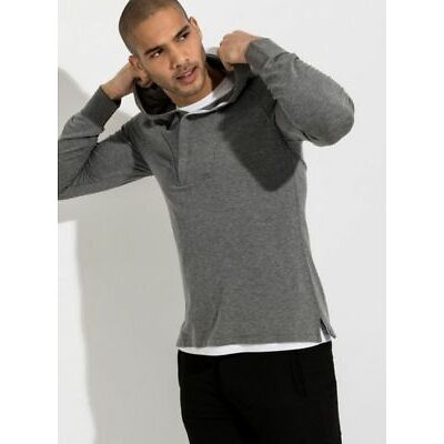 Kit and Ace Grey Cashmere Blend Crossover Collar Hooded Top Hoodie M L XL $230