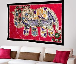 HANDMADE-ELEPHANT-BOHEMIAN-PATCHWORK-WALL-HANGING-EMBROIDERED-TAPESTRY-INDIA-X60