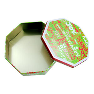 7-034-Empty-Octagon-Xmas-Holiday-Cookie-Tin-Container-Text-Art-Lid-Joy-Merry-Happy