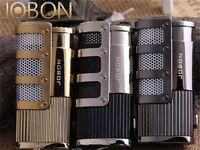 Windproof Adjustable Triple Torch Blue Flame Butane Cigar Punch Lighter 4 Colors