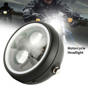 6-5-034-Motorcycle-Headlight-Angel-Eye-Projector-LED-Hi-Lo-DRL-light-For-Harley-AL