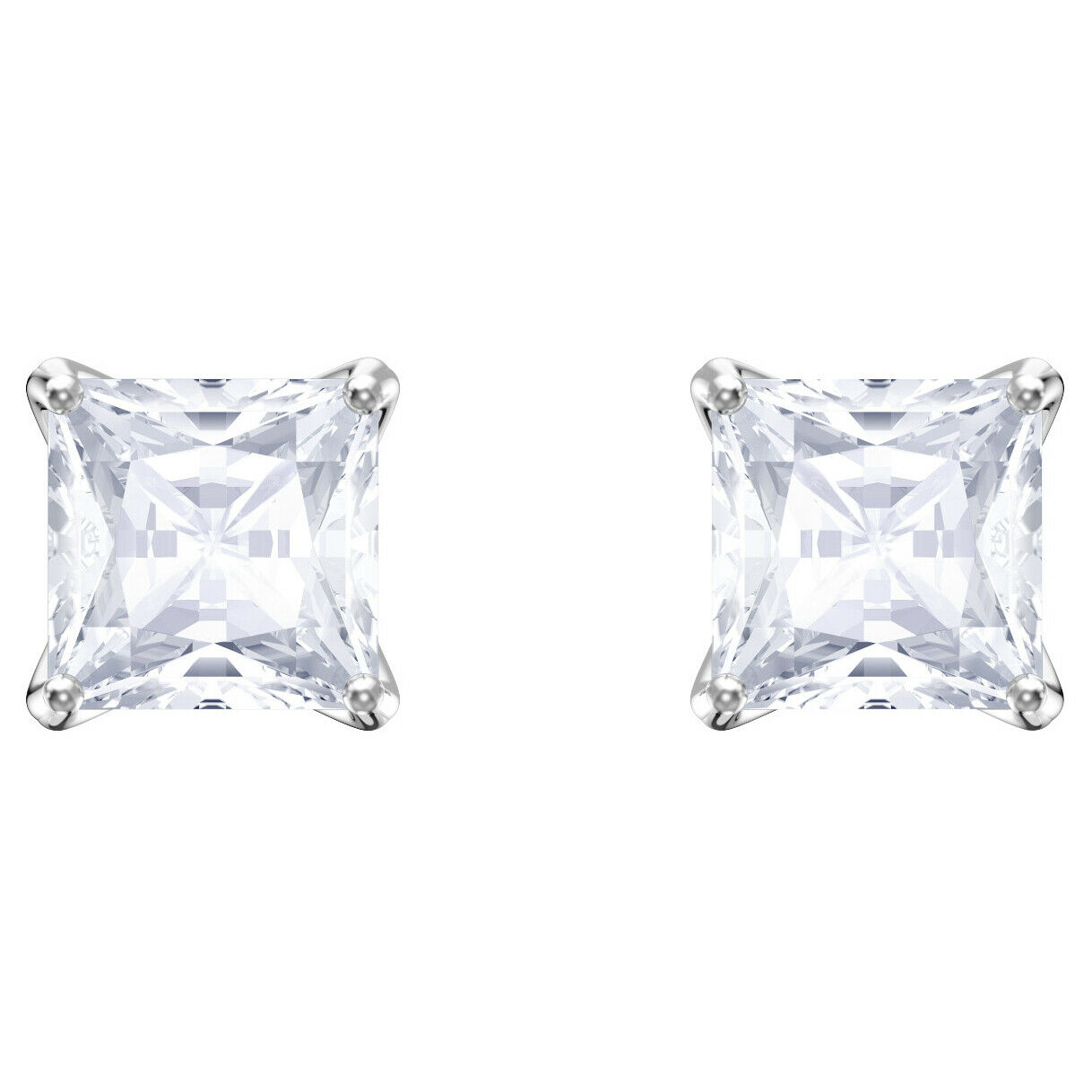 Swarovski Crystal Attract Stud Pierced Earrings, White, Rhodium Plating 5430365
