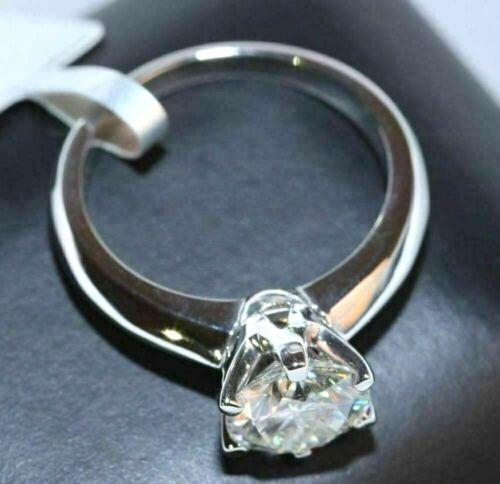 Certified 1.00Ct Moissanite Diamond 14k White Gold Engagement Wedding Ring