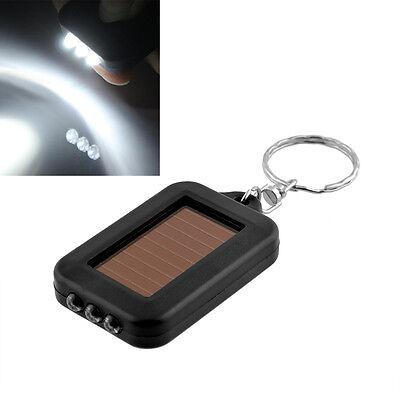 Mini Portable Solar Power 3LED Light Keychain Torch Flashlight Key Ring