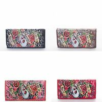 Wallet Skull Rhinestone Womens Checkbook Long Trifold Love Is Forever Roses
