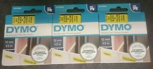 Three-new-Dymo-D1-Tape-for-Electronic-Labelmakers-12mmx7m-Black-on-Yellow-3x