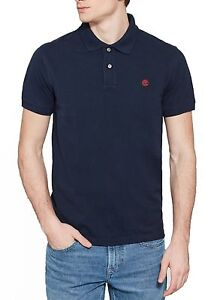 Fiumi Piqué T Polo Camicia Timberland Casual Cotone Top Oomo Mugnai shirt Blu Di qSS5aR