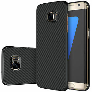 huge discount 56d33 9e30f Details about Samsung Galaxy S7 S7 Edge Case Black Nillkin Synthetic Carbon  Fiber Hard Case