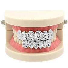 New Silver Plated Diamond Cut Hip Hop Mouth Teeth Grillz Caps Top & Bottom Set