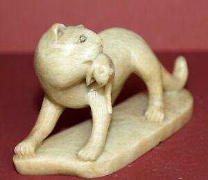 Old-Item-Antique-Hard-Stone-Cat-amp-Rat-VERY-UNIQUE