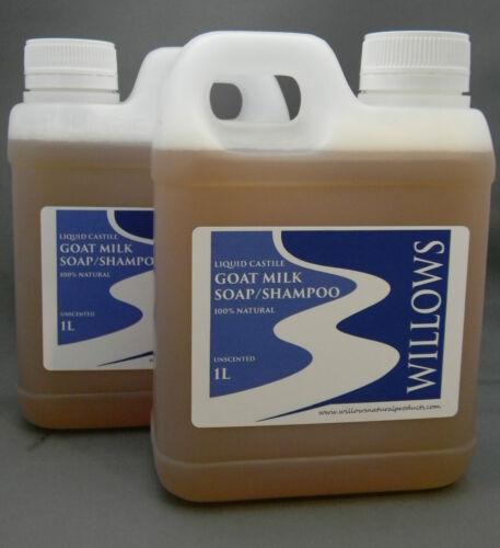1 of 1 - LIQUID CASTILE GOATS MILK SOAP/SHAMPOO 100% NATURAL UNSCENTED 2 x 1L