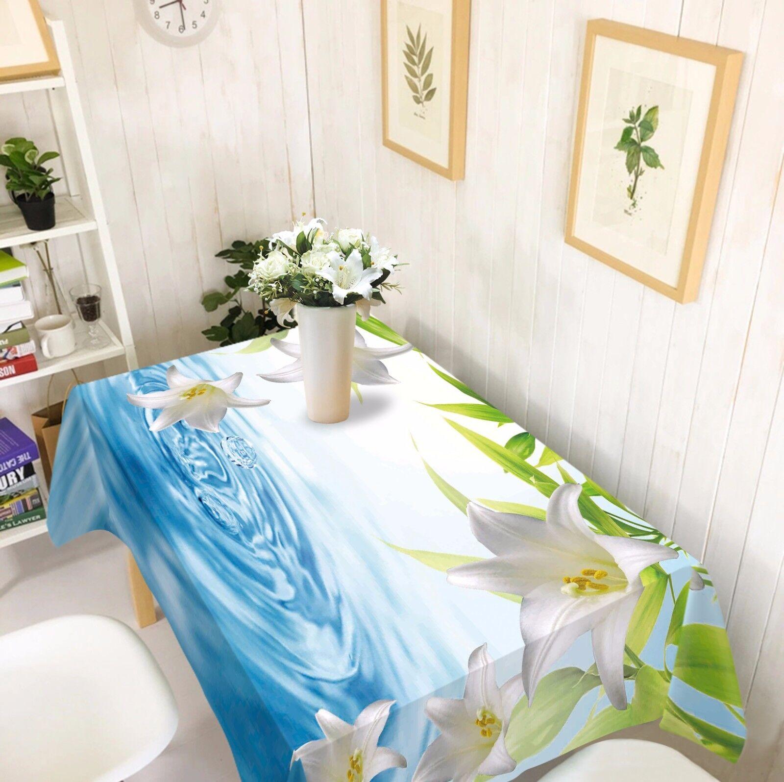 Lirio de 3D blancoo Mantel Mantel Paño Cumpleaños Fiesta AJ Wallpaper Reino Unido Limón