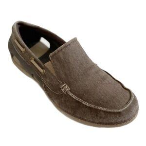 Crocs-Men-s-Beach-Line-Canvas-Boat-Shoes-Slip-On-Loafers-Size-9