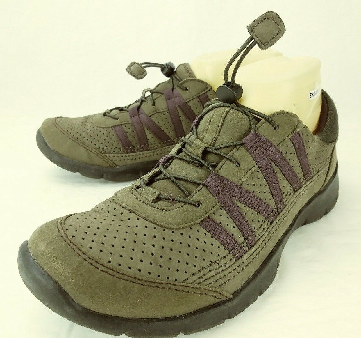 Clarks Wos shoes Sneakers US 9 M Brown Leather Purple Elastic Walking 5246