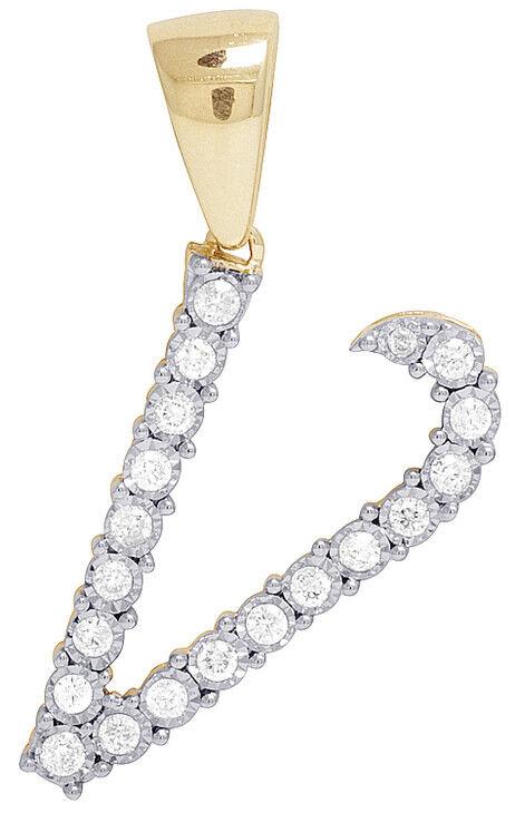 Unisex Vero 10K oro Giallo Diamante Diamante Diamante Vero Lettera V Iniziale Ciondolo 2 5 Kt 3cm c0ea62