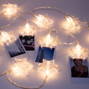 Details about LuxLumi Star Photo Clip 20 LED String Lights Bedroom Dorm  Room Picture Hanging