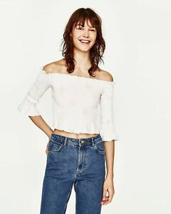 Zara-Off-shoulder-Embroidered-Top-Sz-XS