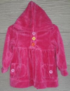 Gymboree-Outlet-Gingerbread-Girl-2T-Pink-Velour-HOODIE-Tunic-Multi-Color-Buttons