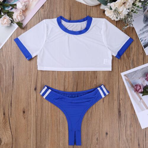 Women School Girls Uniform Crop Top Open Crotch Lingerie Fancy Underwear Cosplay