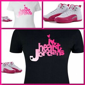 bf86086b8786 LADIES   WOMENS TEE SHIRT to match GIRLS JORDAN XII 12 VALENTINES ...