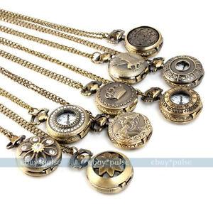 Mini-Vintage-Bronze-Tone-Women-Men-039-s-Pocket-Chain-Quartz-Pendant-Watch-Necklace