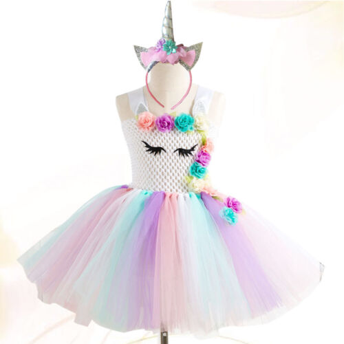 1 Set Tutu Dress with Headband Unicorn Cute Girls Outfit for Banquet Kids Party