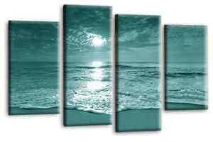 Sunset-Beach-Love-Art-Picture-Teal-Cream-Landscape-Canvas-Wall-Print-112cm