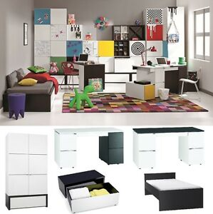 jugendzimmer kinderzimmer black white komplettset weiss. Black Bedroom Furniture Sets. Home Design Ideas