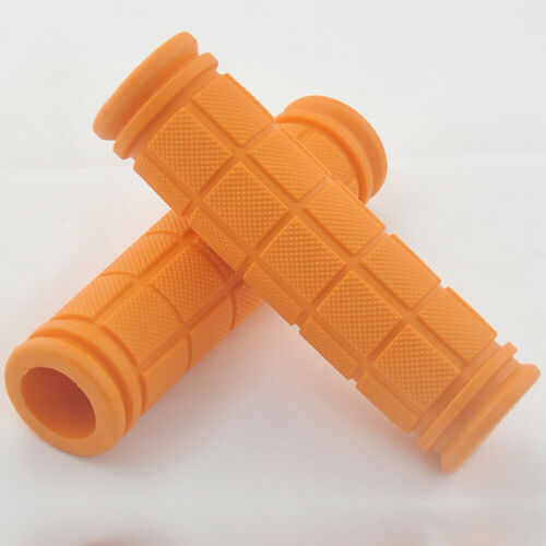 Four Orange Ergonomic Rubber Handlebar Bicycle Grips for Traction and Comfort