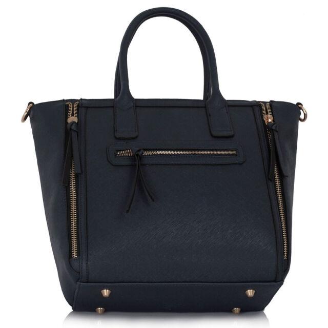 Ladies Designer Leather Style Celebrity Tote Bag Shoulder Zipper Handbag 133