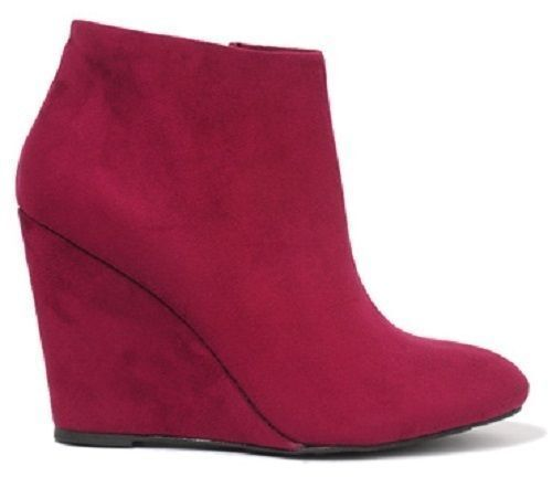 Forever 21 Plum Camel Faux Suede Toe Single Sole Pointed Pointy Toe Suede Wedge Booties 8 cd4e1e