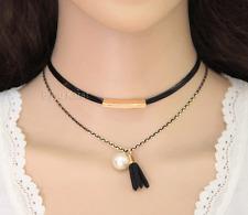 Choker Halskette Halsband Kette Collier Gold Kolye Kropfband Leder Perle Schwarz