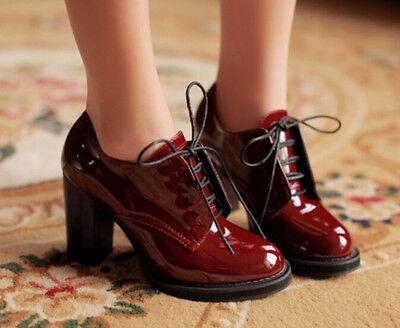 Womens Pumps Thick Heel Lace Up Plus Size Retro Vintage Fashion 2017 Chic Shoes