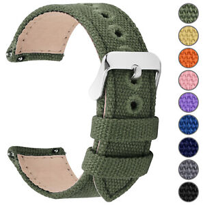 Watch-Band-14-16-18-20-22-24mm-Canvas-Quick-Release-Stainless-Steel-Buckle-Belt