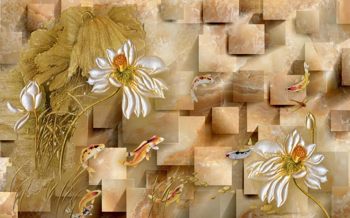 3D Retro flower carving box wallpaper Decal Dercor Home Kid Nursery Mural  Home