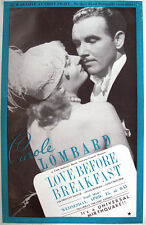 1936 CAROLE LOMBARD LOVE BEFORE BREAKFAST FILM PROMO TRADE ADVERTISEMENT/ POSTER