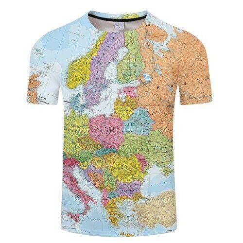 Casual Women Men 3D T-Shirt World Map Printed Shirt Summer Short Sleeve Tee Tops