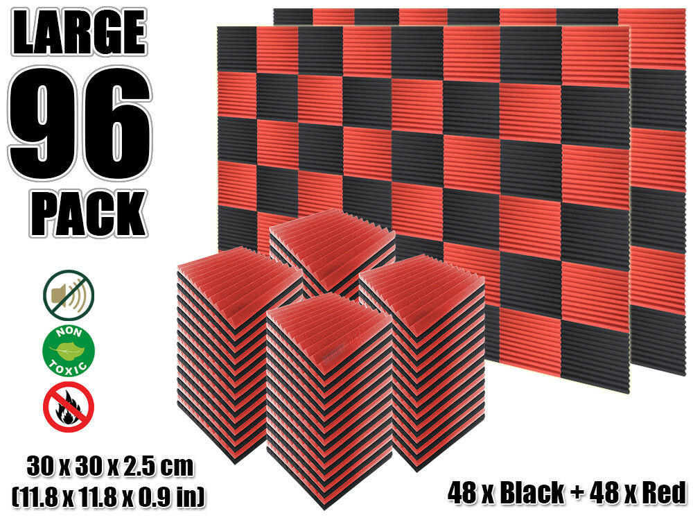 Hobby Dash 30 x 30 30 30 x 2.5 cm Multi-Wedge 12T Acoustic Foam 96 pcs rojo & negro 39c1f1
