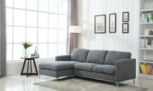 Summer Sale!! Contemporary & Elegant  2 Pc Gray Fabric Sectional w/Chrome feet Edmonton Area Preview