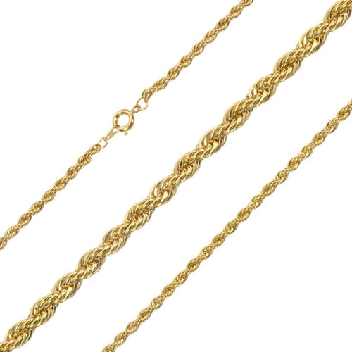"""Gold Plated Twisted Rope Chain 18/"""" Necklace With Clasp G93//10"""