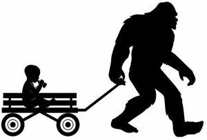Bigfoot Sasquatch Pulling Wagon with Child Decal Sticker Car Truck 6x4 Yeti